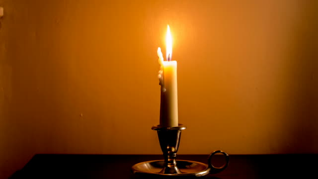 Timelapse of Vintage Burning Candle video