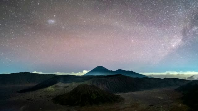Time-lapse of Volcano mount an active with Milky way and light traffic at night. Bromo Tengger Semeru National Park, East Java, Indonesia