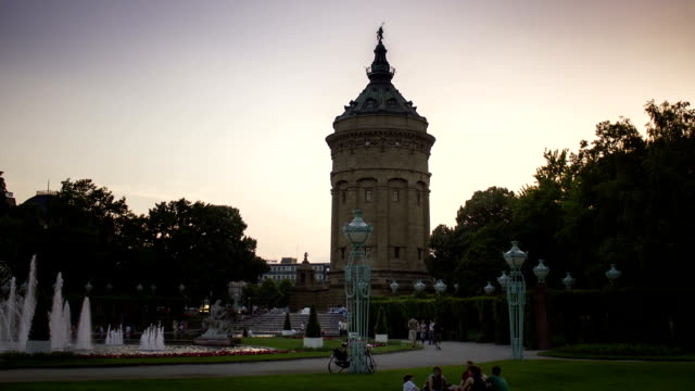 Timelapse of Watertower in Mannheim (day-to-night) video