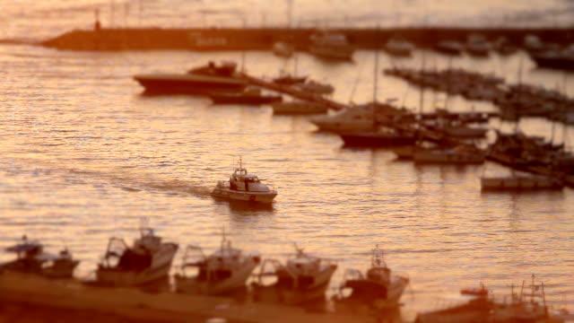 time lapse di bianco barca a motore di arrivo al porto di santa maria di leuca al tramonto - lecce video stock e b–roll