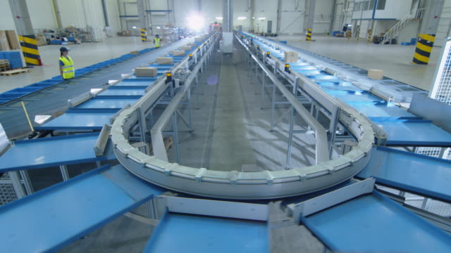 Time-Lapse of Working Large Belt Conveyor with Parcels at Sorting Post Office. video