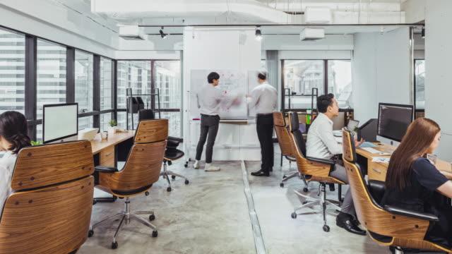 il time-lapse 4k dei giovani imprenditori asiatici adulti lavora insieme in ufficio, ingrandisci. persone che lavorano la vita, il luogo di lavoro aziendale, l'attività di lavoro di squadra, il concetto di conferenza delle riunioni del team finanziario o  - frenetico video stock e b–roll