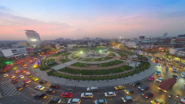 Time-lapse or Hyper-lapse Aerial view highway road roundabout circle or intersection traffic for transportation concept.
