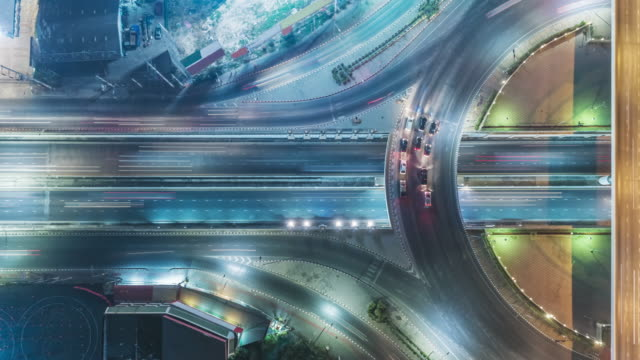 Time-lapse or Hyper-lapse Aerial view highway road roundabout circle or intersection traffic at night for transportation concept. Time-lapse or Hyper-lapse Aerial view highway road roundabout circle or intersection traffic at night for transportation concept. traffic time lapse stock videos & royalty-free footage