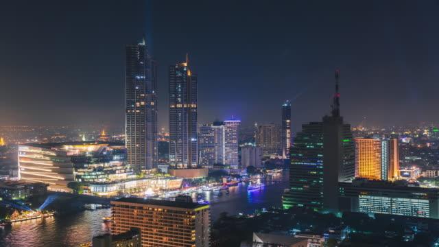 Time-lapse or Hyper-lapse Aerial view New landmark in Bangkok, Thailand.