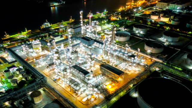 4K Timelapse or Hyperlapse of Aerial of industrial park with oil refinery in Asia Aerial of industrial park with oil refinery oil and gas stock videos & royalty-free footage