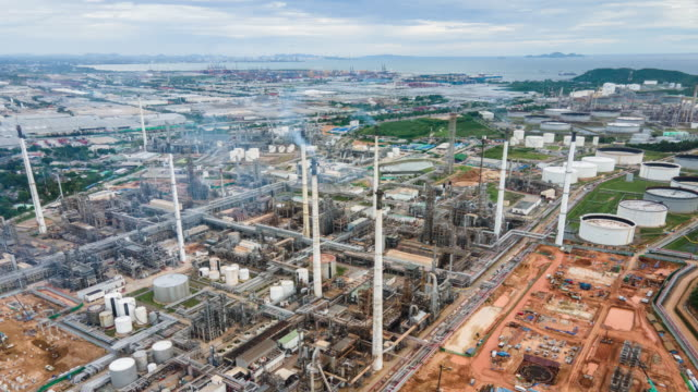 4k timelapse or hyperlapse of aerial of industrial park with oil refinery - opec video stock e b–roll