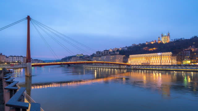 Time-lapse: Notre dame de fourviere Saone River Lyon France sunset