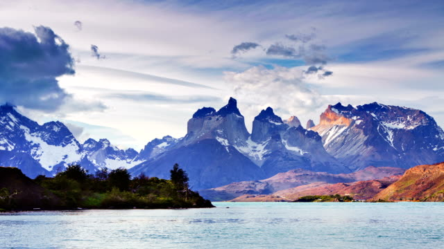 Timelapse over lake in Torres del Paine, Patagonia, Chile video