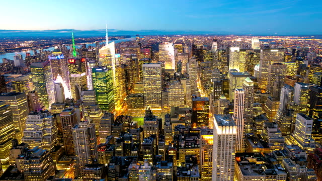 HD Time-lapse Paning: New York City Skyline aerial view video