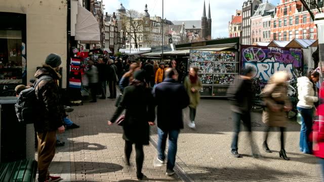 微パンニング:街の歩行者天国のショッピング街、アムステルダム、フラワーマーケット - 花市場点の映像素材/bロール