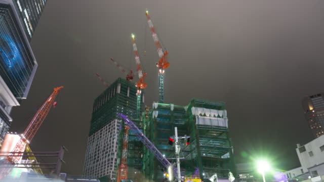 4K Timelapse Panning : Construction cranes in Tokyo , Japan video