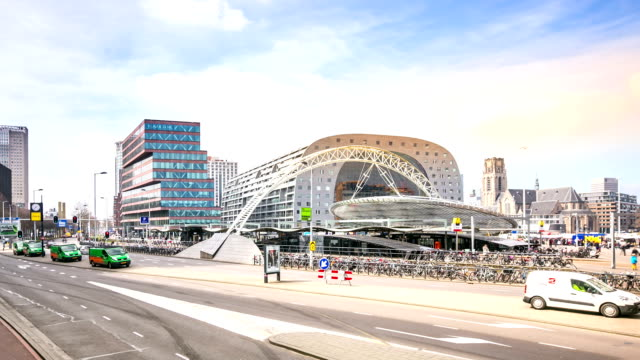 stockvideo's en b-roll-footage met hd time-lapse panning: rotterdam downtown and market hall netherlands - den haag