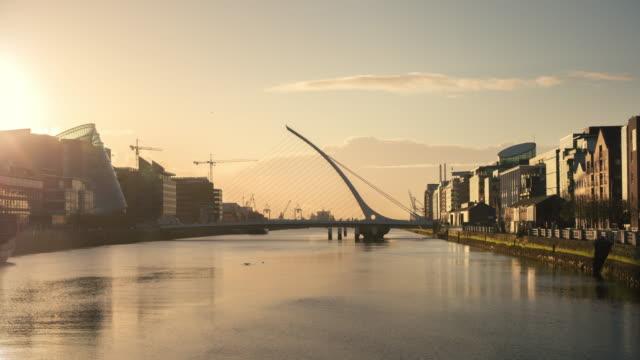 Timelapse panning sunrise in Dublin Ireland video