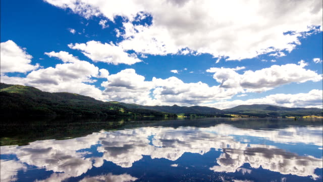 HD Timelapse panning view of beautiful Mountain Lake with amazing white clouds and blue sky video