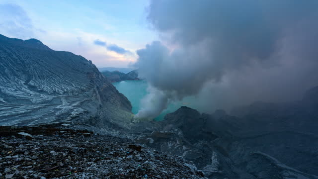 Timelapse. Panoramic views of the the sulfur fumes in the crater of an active volcano Ijen. East Java, Indonesia video