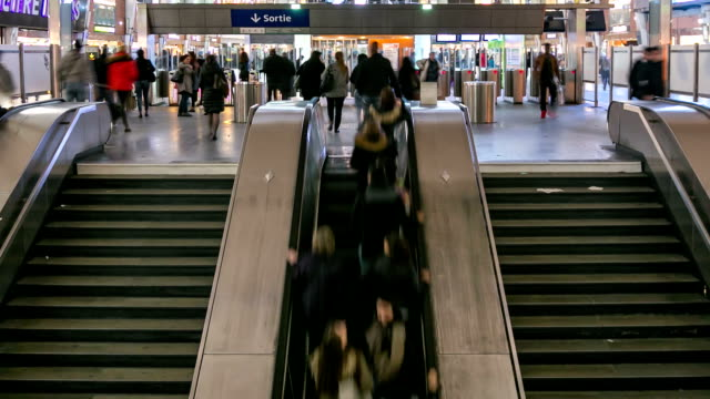 HD Time-lapse: Passenger Commuter Crowded at Metro Subway station Paris