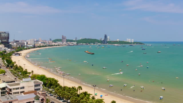 Time-Lapse: Pattaya bay beach harbor and city in sunny day, Chonburi, Thailand; Pan right Time-Lapse: Pattaya bay beach harbor and city in sunny day, Chonburi, Thailand; Pan right pattaya stock videos & royalty-free footage