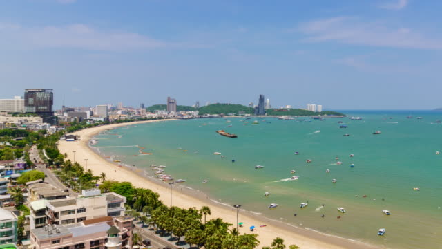 Time-Lapse: Pattaya bay beach harbor and city in sunny day, Chonburi, Thailand; Tilt up Time-Lapse: Pattaya bay beach harbor and city in sunny day, Chonburi, Thailand; Tilt up pattaya stock videos & royalty-free footage