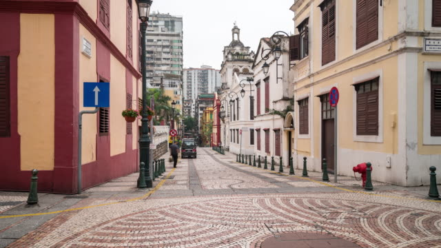 Time-lapse Pedestrian ancient Portuguese town in Macau, China video