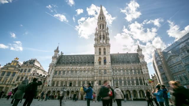 4K Time-lapse: Pedestrian Brussels Grand Place garden Belgium sunset video