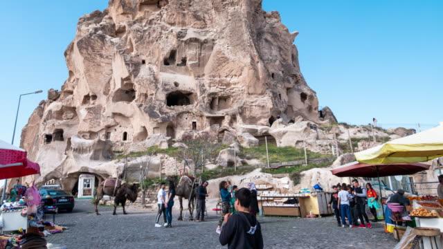 Time-lapse : Pedestrian Commuter Crowd at Uchisar in Cappadocia Region of Turkey, 4K Resolution.