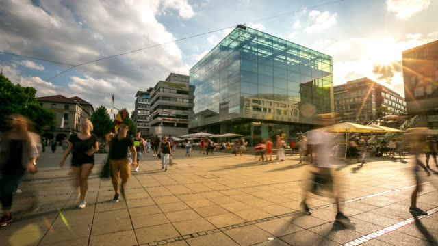 4K Time-lapse: Pedestrian crowded at New palace Square Stuttgart Germany video