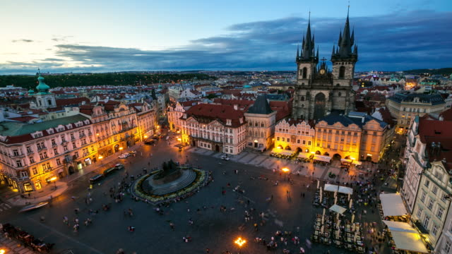4k time-lapse: pedestrian crowded at old town square prague czech republic - landmarks stock videos and b-roll footage