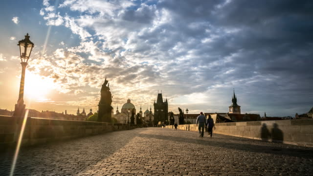 4K Time-lapse: Pedestrian Crowded Charles Bridge Karluv Most Czech sunrise video