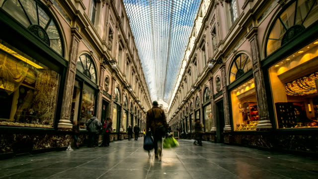 HD Time-lapse: Pedestrian shopping at Galeries Grand Place Brussels Belgium video