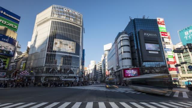 4k 延時:東京澀谷十字路口的行人十字路口 - 澀谷交叉點 個影片檔及 b 捲影像