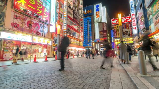 Time-lapse: Pedestrians crowded shopping Akihabara electric town Tokyo night video