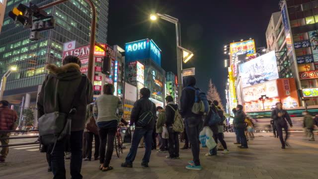 時間速度 : 混雑した歩行者天国のショッピング街、秋葉原の電気街東京の ビデオ