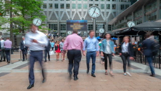 Time-lapse people businessman Crowd at Canary Wharf downtown in London England UK