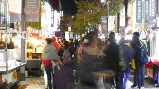Time-Lapse people crowded at Myeongdong Market Street video
