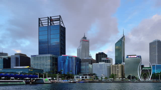 Time-lapse (Panning) : Perth Skyline, Australia video