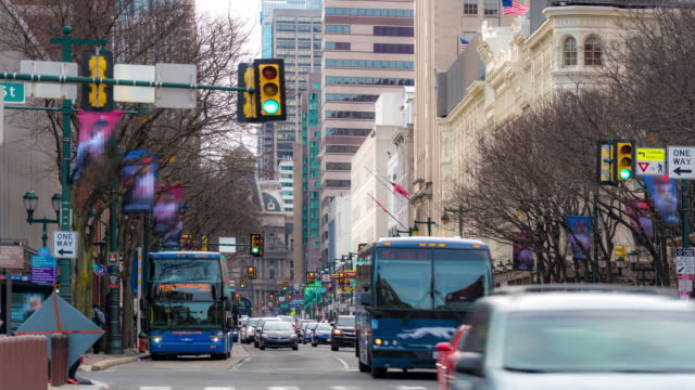 Time-lapse: Philadelphia Center City downtown, PA, USA