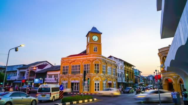 timelapse phuket old town with sino portuguese style ,thailand - phuket video stock e b–roll