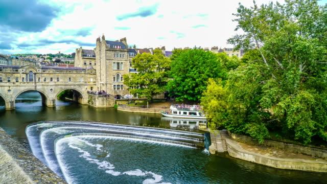 timelapse Pulteney Bridge River Avon in Bath - vídeo