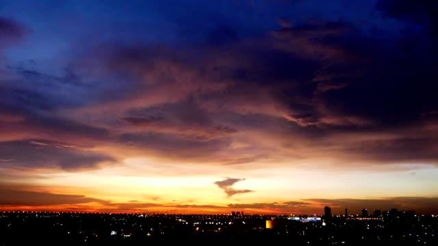 Timelapse red sky sunset scene