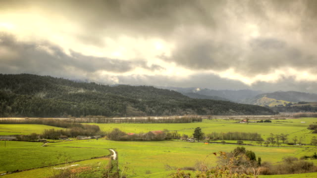 HDR timelapse redwood forest trees farmland clouds meadow field mountains video