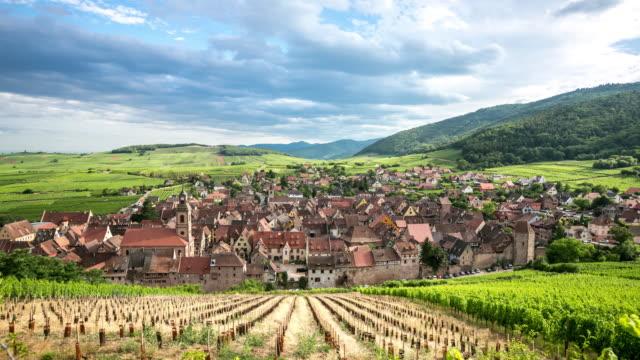 4K Time-lapse: Riquewihr Village Cityscape Alsace France video
