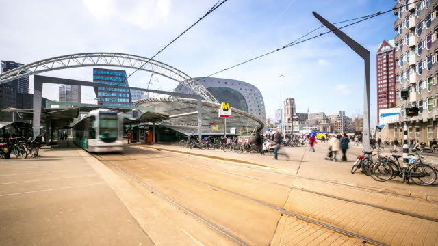 time-lapse: Rotterdam Downtown and market hall Netherlands video