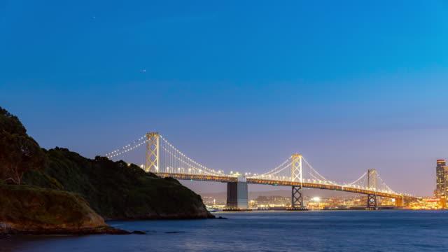 Time-lapse San Francisco Bay Bridge at dusk from Treasure Island, California, sunset, USA