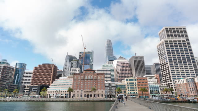 Time-lapse San Francisco downtown from Pier 14 Rincon Park, California, USA 4K Time-lapse San Francisco downtown from Pier 14 Rincon Park, California, USA, Apple ProRes 422 (HQ) 3840x2160 Format oakland stock videos & royalty-free footage