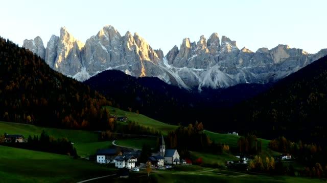 Timelapse Santa Magdalena in Dolomites alps, Italy video