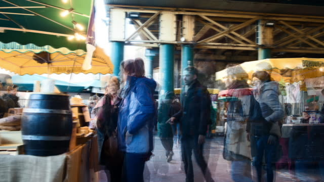 Timelapse Sequence Of Stalls At Borough Market In London UK video