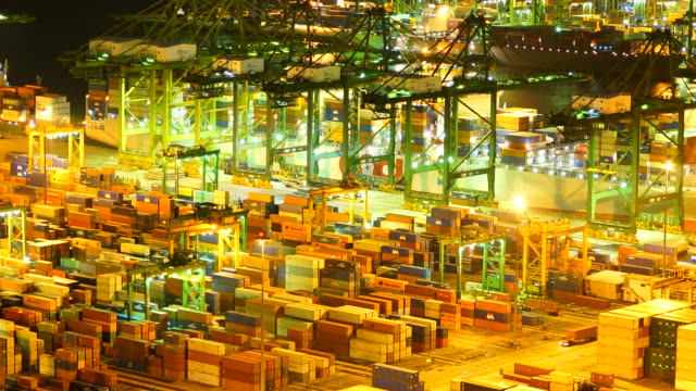 Timelapse shipping port cargo crane at singapore video