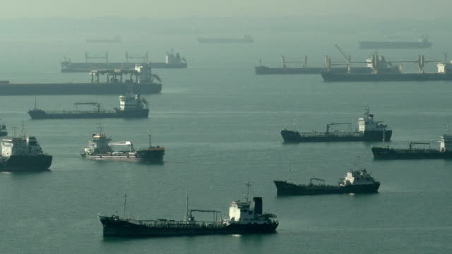 Timelapse Ships Oil Tankers Activity At East Coast Singapore