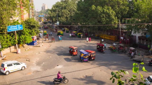 Timelapse shot of busy street in Delhi, India